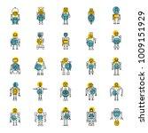 robots line icons set. vector...   Shutterstock .eps vector #1009151929