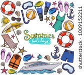 set of beach summer holidays... | Shutterstock .eps vector #1009152211