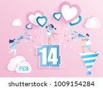 lovely joyful couple on pink... | Shutterstock .eps vector #1009154284