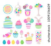 colorful easter sweets icons... | Shutterstock .eps vector #1009156609