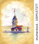 the maidens tower in istambul.... | Shutterstock . vector #1009157377
