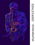 jazz saxophone player jazz... | Shutterstock .eps vector #1009157455