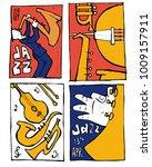 jazz music festival poster set. ... | Shutterstock .eps vector #1009157911