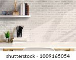 front view of minimal desk and...   Shutterstock . vector #1009165054