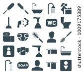 toilet icons. set of 25... | Shutterstock .eps vector #1009175389
