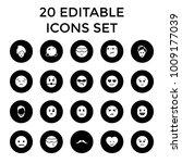 facial icons. set of 20... | Shutterstock .eps vector #1009177039