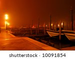 venice  italy  by night. boats...
