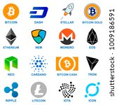 cryptocurrency logo set. | Shutterstock .eps vector #1009186591