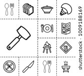 cook icons. set of 13 editable... | Shutterstock .eps vector #1009188169