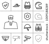 guard icons. set of 13 editable ...   Shutterstock .eps vector #1009188289
