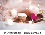 creamy cup cake with cup of... | Shutterstock . vector #1009189615
