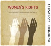 women's rights concept. three... | Shutterstock .eps vector #1009192591