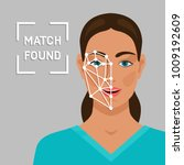 facial recognition concept with ... | Shutterstock .eps vector #1009192609
