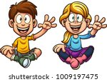 cartoon boy and girl sitting... | Shutterstock .eps vector #1009197475