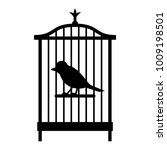 a simple bird in a cage. black... | Shutterstock .eps vector #1009198501