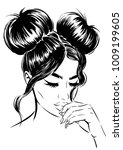 woman with double buns. fashion ... | Shutterstock .eps vector #1009199605