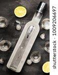 cold vodka in shot glasses on a ... | Shutterstock . vector #1009206697