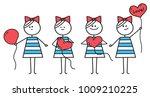 cute girl holds red heart... | Shutterstock .eps vector #1009210225