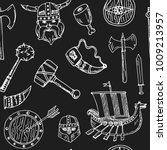 viking elements hand drawn... | Shutterstock .eps vector #1009213957