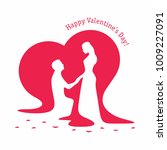 silhouettes of loving couple on ...   Shutterstock .eps vector #1009227091