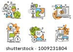 set of outline icons of... | Shutterstock .eps vector #1009231804