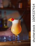 cocktail pina colada on the bar.... | Shutterstock . vector #1009237414