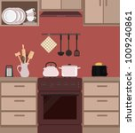 fragment of a kitchen interior... | Shutterstock .eps vector #1009240861