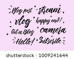 set of lettering vlog  stream ... | Shutterstock .eps vector #1009241644