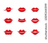 lipstick. set of red lips are... | Shutterstock .eps vector #1009244599