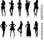 set of various beautiful model...   Shutterstock .eps vector #100925311