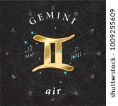 zodiac sign gemini golden logo... | Shutterstock .eps vector #1009255609