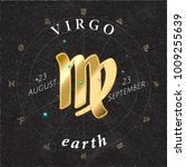 zodiac sign virgo golden logo... | Shutterstock .eps vector #1009255639