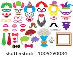 party set. clowns. glasses ... | Shutterstock .eps vector #1009260034