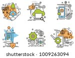 set of outline icons of mobile... | Shutterstock .eps vector #1009263094