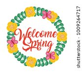 floral wreath decorative... | Shutterstock .eps vector #1009264717