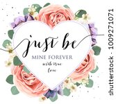 vector floral card design with... | Shutterstock .eps vector #1009271071