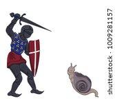 knight battling snail.  style... | Shutterstock .eps vector #1009281157