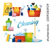 cleaning elements set with... | Shutterstock .eps vector #1009283929