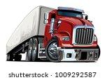 cartoon semi truck isolated on...   Shutterstock .eps vector #1009292587