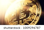 bitcoin in blurry close up shot.... | Shutterstock . vector #1009296787