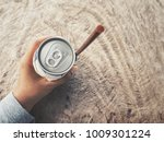 cola can with drinking straw on ... | Shutterstock . vector #1009301224