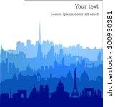 Vector Travel  background : silhouettes of the cities