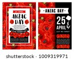 anzac day poster with wreath of ... | Shutterstock .eps vector #1009319971