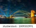 sydney harbour bridge at night... | Shutterstock . vector #1009332991