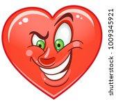 cartoon red cunning heart....   Shutterstock .eps vector #1009345921