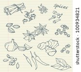 spices sketchy doodles vector... | Shutterstock .eps vector #100934821