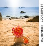 teddy bear with hat looking out ... | Shutterstock . vector #1009359859