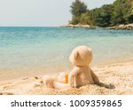 teddy bear looking out to sea... | Shutterstock . vector #1009359865