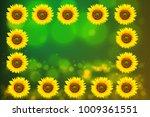 sunflower  green background... | Shutterstock . vector #1009361551