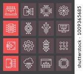 set of circuit tech elements.... | Shutterstock .eps vector #1009365685